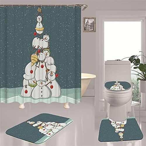 HBHBYNYN 4 STÜCK Weihnachts-Badezimmer-Sets, Duschvorhangs-WC-Sitzbezug- Teppiche Sets Schneemann-Badewanne- Dekor mit 12 Haken (Size : 200 * 180cm)