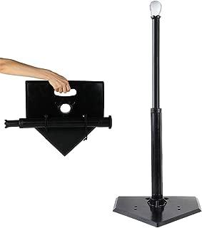 バッティングティー、練習用補助具、ポータブル取り外し可能な三脚ボルトで固定されたエクストラワイドベースローリングラバートップ安定野球トレーニング機器屋外用モーション必須