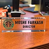 Artblox Office Desk Name Plate Personalized | Custom Name Plates for Desks with Your Logo On Clear Acrylic Glass - (8' x 2.5')