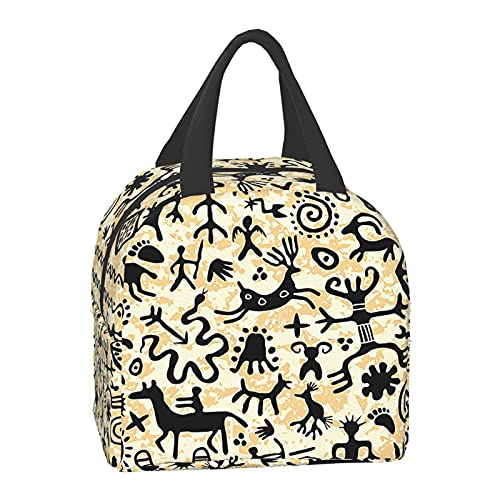 TPOKIM Primitive Animal Symbol Rock Painting Reusable Insulated Cooler Lunch Bag,Lunch Boxfreezable Tote Organizer with Shoulder Strap