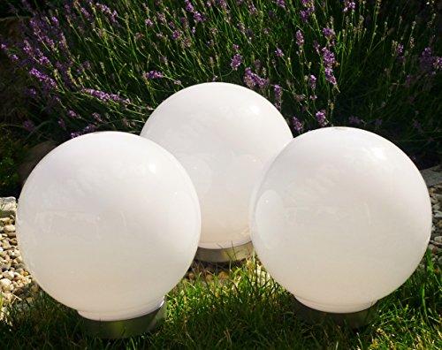 Solar Kugelleuchte 3X 30cm Set Gartenkugel Gartenleuchte Außen KugellampeLeuchtkugel Leuchte Design