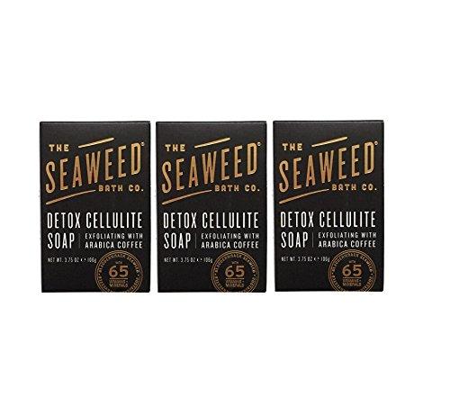Seaweed Bath Co. Detox Cellulite Bar Soap (Pack of 3) with Coconut Oil, Kukui Oil, Bladderwrack Seaweed, Cinnamon Bark Powder and Charcoal Powder, 3.75 ounces