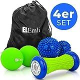 Set de masaje profesional | 4 partes | Masaje de pies para la fascitis plantar | 2x bola de erizo | Scooter peatonal con espinillas | Duoball - Twinball con bolsa