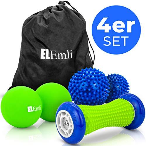 Original Igelball Massage Set | 4er Set | Faszienball | 2x Massageball mit Noppen | Fußmassage Roller für Plantarfasziitis Muskel, Nerven, Entspannung, Triggerpunkttherapie Nacken, Fersen+ Tasche