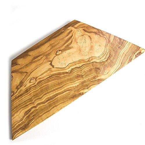 géométrique en forme de trapèze en bois d'olivier Planche à découper/plateau à fromage