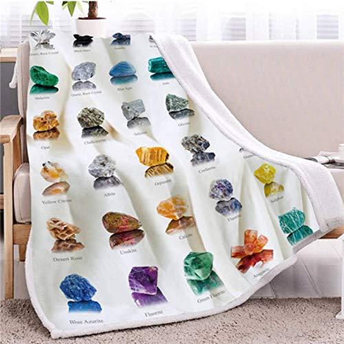 Colcha de felpa de cristal 3D Manta de vellón Sherpa colorida Colección de minerales de piedras preciosas Ropa de cama mullida de felpa Colcha manta 130 * 150cm