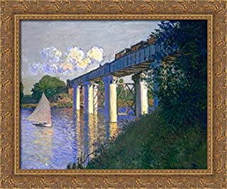 The Railway Bridge at Argenteuil 24x20 Gold Ornate Wood Framed Canvas Art by Claude Monet