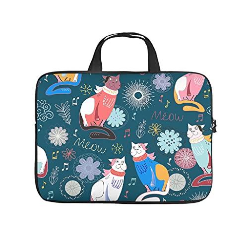 Funda para portátil resistente al agua con dibujos animados de gatos y animales, multicolor, para universidad, trabajo, negocios