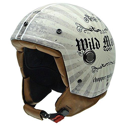 NZI 050260G689Tonup Wild Motors Motorradhelm, Gewebe helles Leder 57