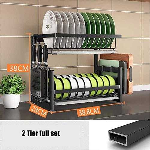 FEE-ZC Praktisch und praktisch über der Spüle Geschirrtrockner, 2-stufiger Geschirrträger mit Utensilienhalter, Schneidebretthalter und Abtropffläche für Küchenarbeitsplatte, Schwarz, B