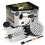 Drill Brush Power Scrubber by Useful Products – Drillbrush Soft White Automotive Cleaning kit with Extended Reach Attachment – Drill Bit Extension Carpet Cleaner Solution – Car Interior Brush Set