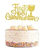 Gold Glitter First Holy Communion Cake Toppers, First Communion Cake Decoration, God Bless Cake Topper for Baby Kids Communion Days Cake Decorations