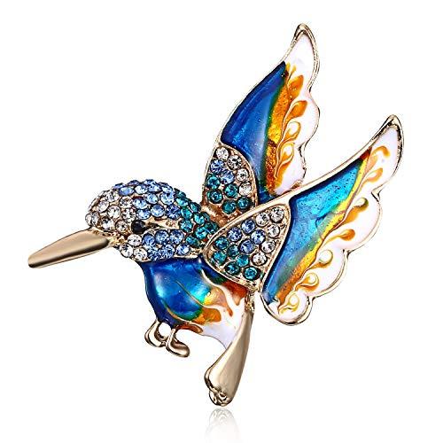 AILUOR Tono Antiguo del Oro de Las Mujeres del colibrí de Cristal Broche de joyería Azul Ajustable