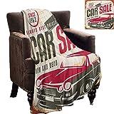 Cobija de felpa suave retro nostálgica señal de venta de coches nuevos y usados, estilo americano, regalos de vida urbana, para hijo y novia, 177,8 x 127 cm, color crema, gris y rojo