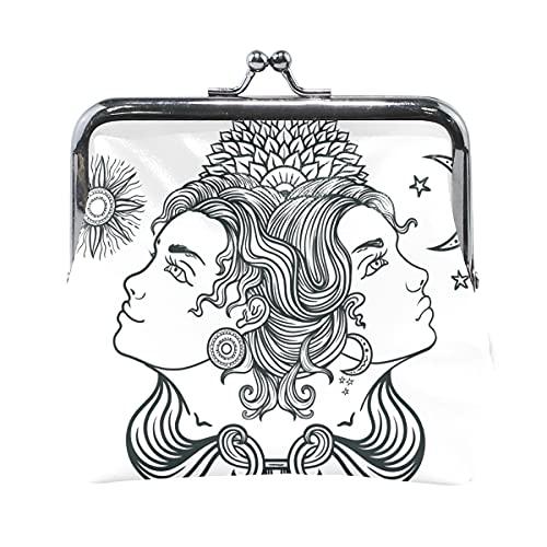 Cartera de Viaje Géminis Pelo Largo Belleza Chicas Linda Bolsa de Monedas con Cierre de Bloqueo de Beso Monedero para Mujer niña 4,5x4,1 Pulgadas