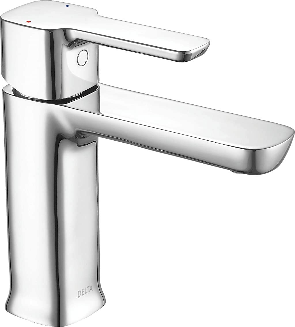 DELTA Modern Single Hole Bathroom Faucet, Single Handle Bathroom Faucet  Chrome, Bathroom Sink Faucet, Drain Assembly, Chrome 20LF PP