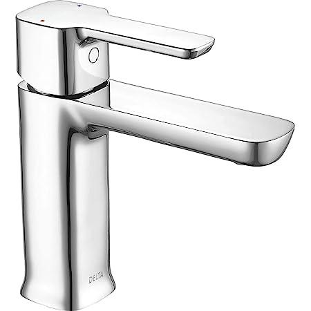 DELTA Modern Single Hole Bathroom Faucet, Single Handle Bathroom Faucet Chrome, Bathroom Sink Faucet, Drain Assembly, Chrome 581LF-PP