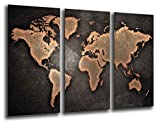 Cuadro Fotográfico Mapa Mundial, Mapa Mundi, Vintage Tamaño total: 97 x 62 cm XXL