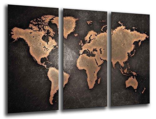 Quadro Su Legno, Mappa del mondo, mappa del mondo, vintage, 97 x 62cm, Stampa in qualita fotografica. Ref. 26138