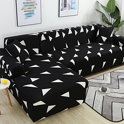 ASCV Funda de sofá elástica seccional para Sala de Estar Funda de sofá en Forma de L Funda de sillón decoración del hogar A9 4 plazas