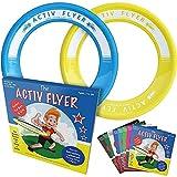 Activ Life Anillos voladores niños [Amarillo/Cian]. Regalo de cumpleaños más Popular para niños de 3+. Juguete Volador definitivo para Vacaciones en la Playa, Parques, recreos y Piscinas.