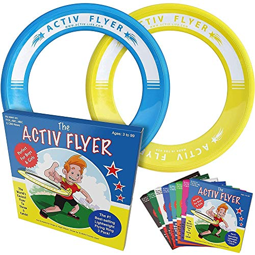 Activ Life Best Kids Flying Rings [Yellow/Cyan] - Top Birthday Presents & Gifts for Young Boys Girls Ages 3 and Up - Ultimate Outdoor Toss Beach Toys at Vacation, School Playground, Park, Pool Fun
