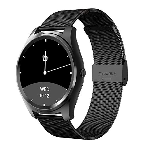 Bean Information Technology Fusion Smart Watch for Apple/Android Phones, Black with Stainless Strap