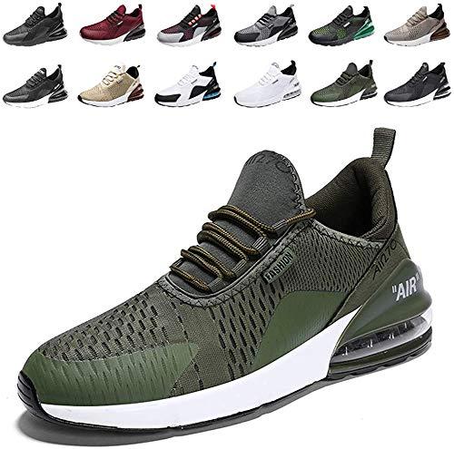 populalar - Scarpe da corsa, da uomo e da donna, scarpe da ginnastica, sneaker traspiranti, per corsa, fitness, palestra, outdoor, leggere., Verde (11 verde.), 38 EU