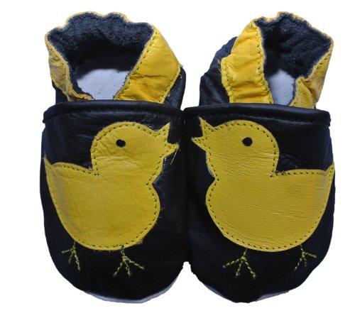 Chaussures Bébé Fille Garçon Cuir Souple Poussin - Noir - Noir , 6-12 mois
