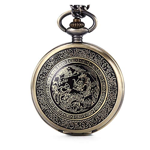 Avaner Reloj de Bolsillo de Dragon y Fénix Reloj Bronce de Colgante con Cadena Larga, Retro Vintage Reloj de Bolsillo Cuarzo Original Regalos Dia del Padre