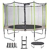 Kangui - Trampoline de Jardin 426 cm + Filet + échelle + bâche + kit d'ancrage JUMPI Taupe/Vert
