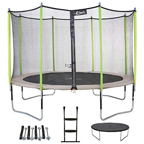 Kangui - Trampoline de Jardin 365 cm + Filet + échelle + bâche + kit d'ancrage JUMPI Taupe/Vert