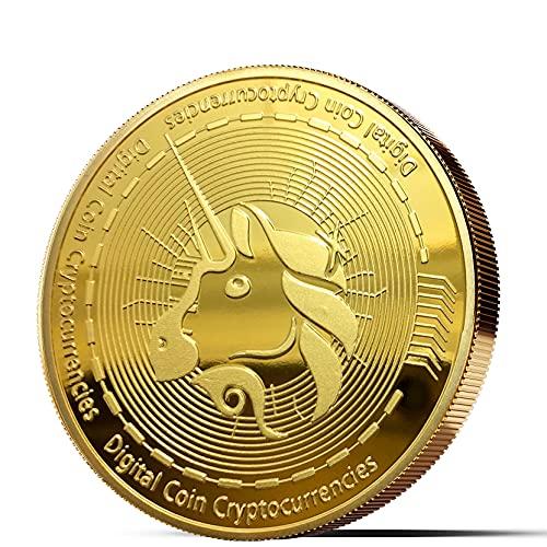 Physische Bitcoin Medaille mit 24-Karat Echt-Gold überzogen   Viele weitere Kryptowährungen als Medaille (Uniswap, Gold)