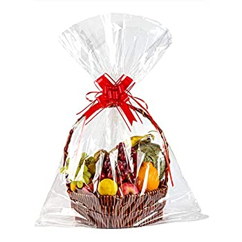 Geniusus 32 x47 Clear Basket Bags Clear Cellophane Wrap for Baskets and Gifts with Gift Basket Pull Bows  10pcsCellophane Gift Bags +10pcs Gift Basket Pull Bows