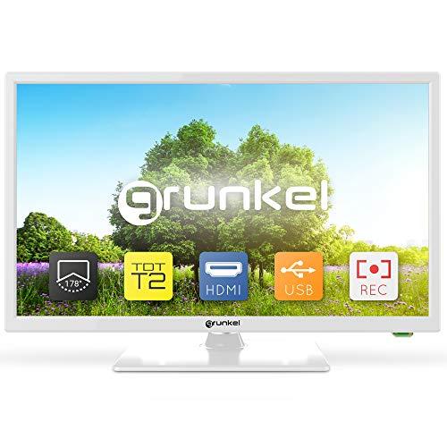 Grunkel - LED-2420B - Televisor de 61 centímetros con Panel HD Ready y Sintonizador TDT Alta Definición T2. Bajo Consumo y Auto-Apagado - 24 Pulgadas – Blanco