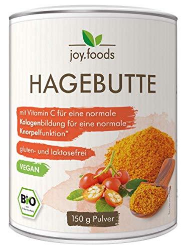 joy.foods Bio Hagebutte Pulver, vegan 100%, laborgeprüft, Vitamin C Lieferant, für Knochen undgelenke, 150 g