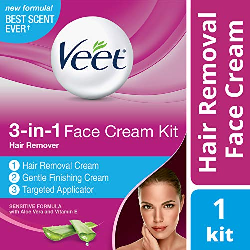 Veet 3-in-1 Face Cream Hair Remover Kit (2 x 1.69oz), Sensitive Formula With Aloe Vera &...