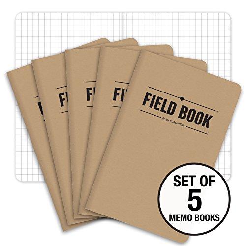 """Field Notebook/Pocket Journal - 3.5""""x5.5"""" - Kraft - Graph Memo Book - Pack of 5"""