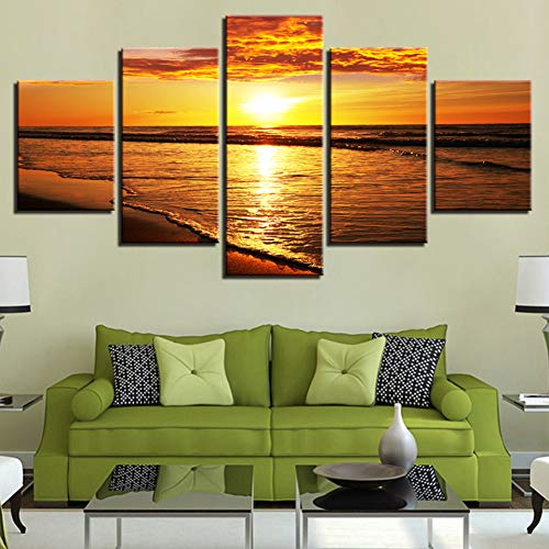 LPHMMD 5 canvas paintings Canvas Painting Pictures Wall Art 5 Pieces Sunset Beach Waves Seascape Poster HD Prints Home Decor Living Room-30x50cm 30x70cm 30x80cm