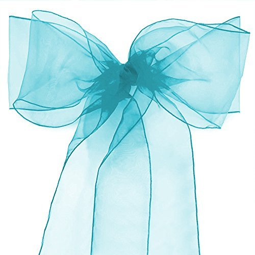 Lucky 10/20/50/100 Pack Organza Banquet Chair Sash Sashes Bows Ties for Weddings Party Decoration White Pink Purple Gold Red(10 Pack, Aqua Blue)