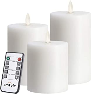 smtyle Christmas White Flameless Candles Flickering Realistic Bright Pillar Candle Light with Remote Control Timer Battery Operated 3in Pack of 3
