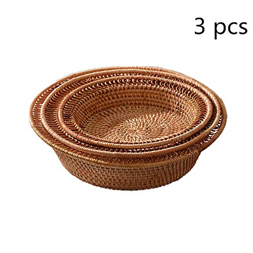 Rattan Fruit Basket Round Rattan Fruit Display Storage Basket Hand Woven Bread Serving Basket Serving Tray Snack Set Of 3 Woven Storage Basket (Color : A, Size : 21+24+28cm)
