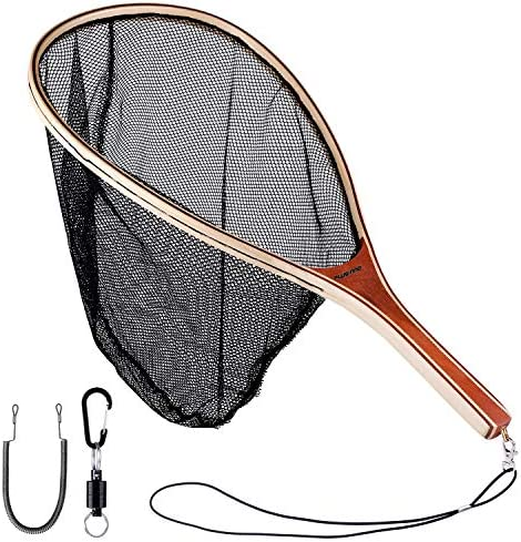 PLUSINNO Fly Fishing Net Wooden Frame Fishing Landing Net with Magnetic Release Soft Rubber product image