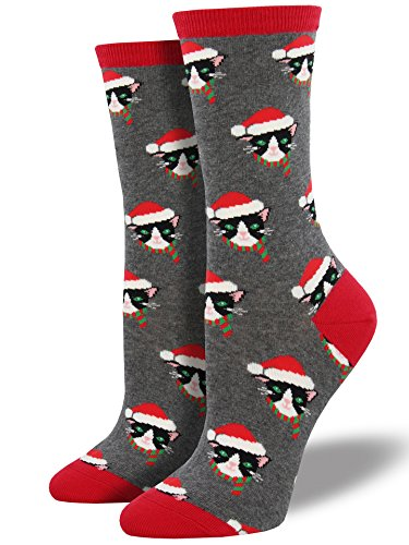 Socksmith Santa Cats Womens Heather Grey Crew Socks