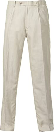 Alexanders of London Single Pleated Linen Trousers - Beige/Black/Navy
