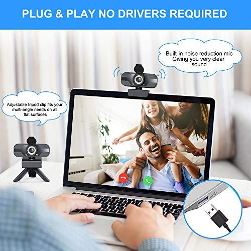 Webcam mit mikrofon 1080P Full HD mit Webcam Abdeckung, USB Webcam mit Stativ, Mini Plug and Play für Desktop & Notebook, Web cam ideal für Streaming, Konferenzen, Live Übertragungen und Videoanruf