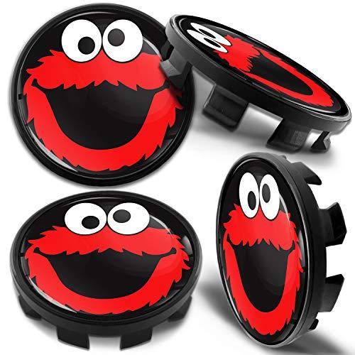 Biomar Labs 4 x 68mm Tapas de Rueda de Centro Tapacubos Centrales Llantas Aluminio Compatible con BMW Part. No. 36136783536 Negro Rojo Elmo Cookie Monster para Coche CB 42
