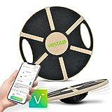 Vesta+ Balance Board Holz + Fitness App, Fitness Balance Board Erwachsene Physiotherapie, Balance Trainer aus nachhaltigem Eichenholz, Der Balance Board Testsieger für das Plus in Deinem Workout.