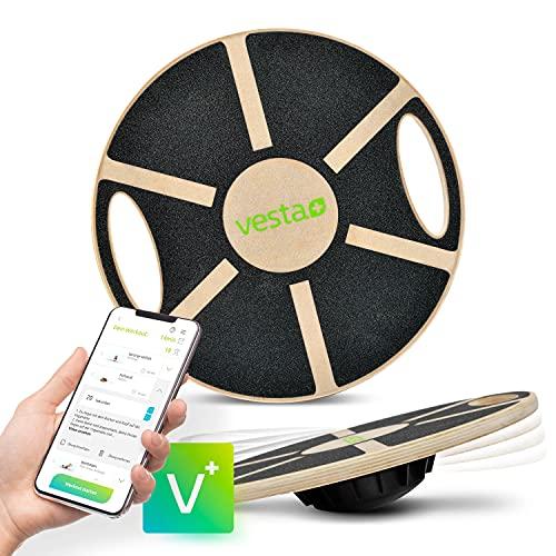 Vesta+ Balance Board in legno + app per fitness, fitness Balance Board per adulti, fisioterapia, Balance Trainer in legno di quercia sostenibile, il vincitore del test per il Plus nel tuo allenamento.