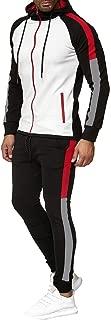 LENXH Hooded Shirt Long Sleeve Wei Fashion Pants Men's Sports Suit Zipper Stitching Shirt Solid Color Trousers